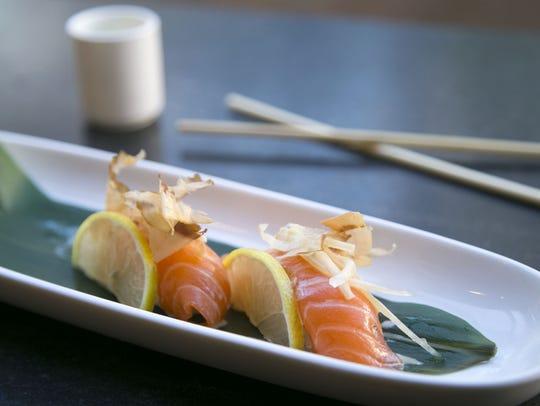 Yuki salmon nigiri at Obon Sushi Bar Ramen in Scottsdale