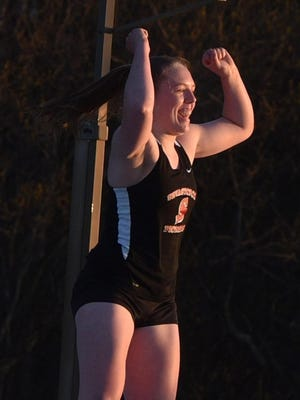 Sevastopol's Demi Ploor, shown celebrating a successful attempt, earned a second straight berth in the pole vault at next week's WIAA state track and field meet. Ploor was runner-up in Division 3 last year.