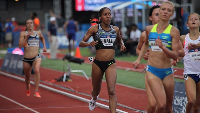 Haddonfield graduate Marielle Hall competes in the first round of the 5,000-meter race at the Olympic Trials on Thursday.
