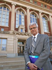 University of Northern Iowa President Ben Allen stands in front of Seerley Hall on the UNI campus March 8.