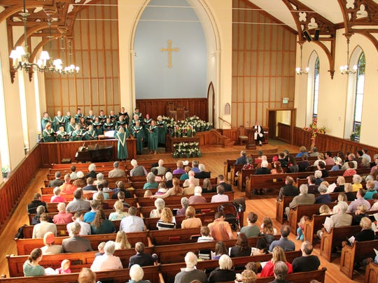 A view of the College Street Congregational Church from the balcony during Sunday's Easter service.
