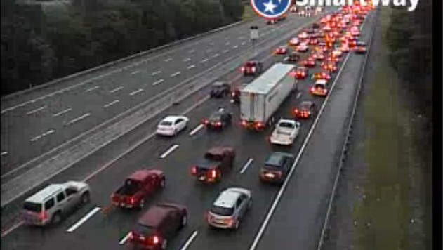A multi-car crash on I-24W has 2 lanes blocked in between mile marker 59 and 60.