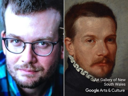 "John Green matched with ""Portrait of a young man"" by"