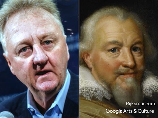 "Larry Bird matched with ""Portrait of Count Jan VII"
