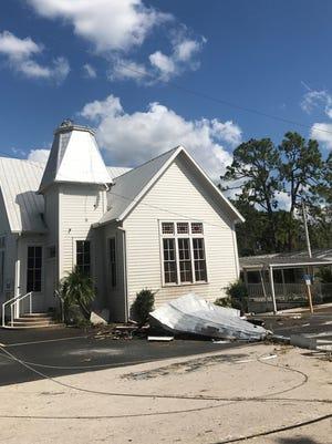 Alva's First United Methodist church lost its steeple to Hurricane Irma