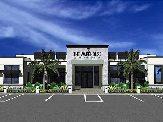 A rendering of The Warehouse restaurant and lounge being built in the next phase of Cameron Commons retail center on Immokalee Road just east of Collier Boulevard.