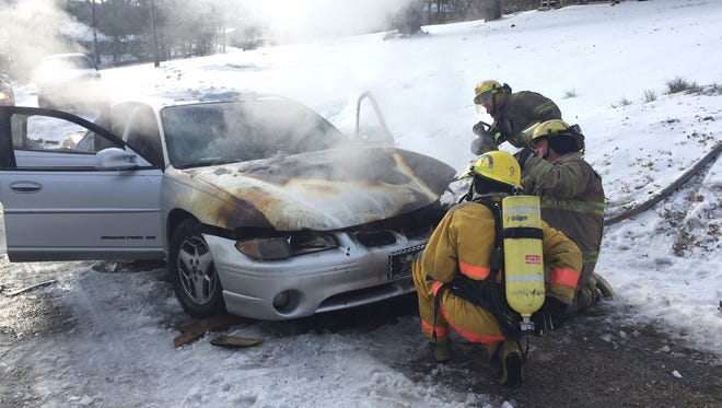 Car fire in Cotter on Monday afternoon.