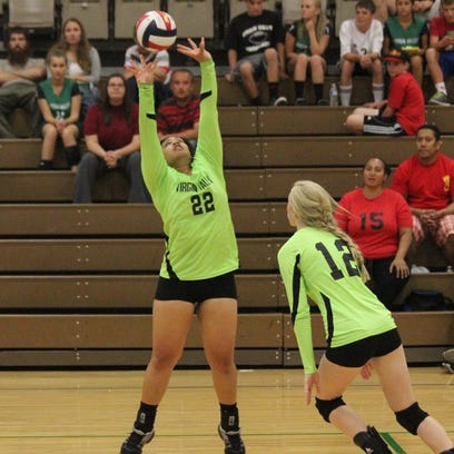 Emma Barnum prepares to receive the ball in a recent match.