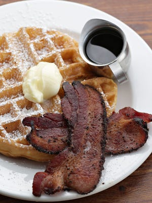 The waffle with thick cut bacon from Matt's Big Breakfast, as seen in Phoenix, on Sept. 9, 2014.
