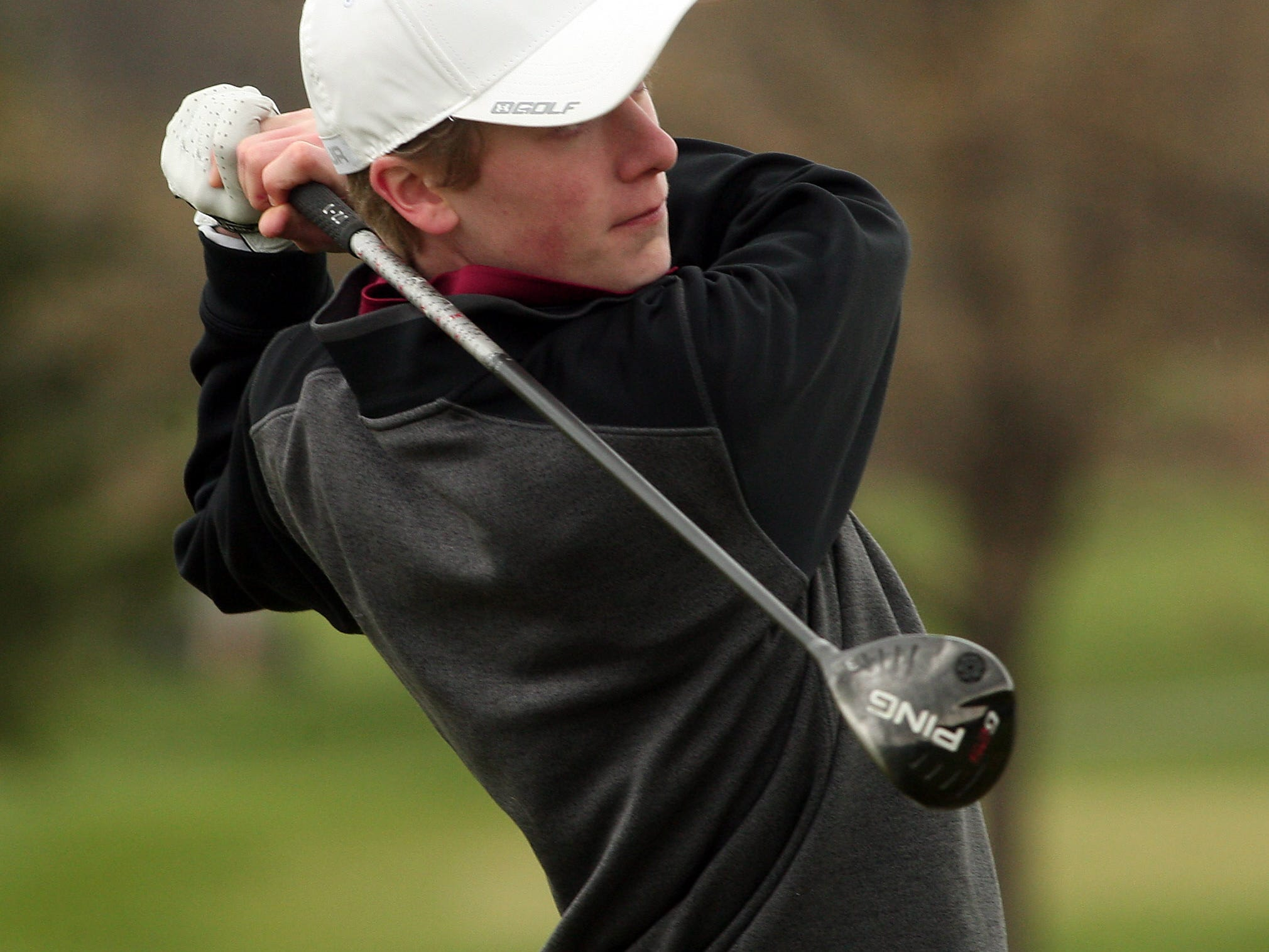 Morristown's Evan Quinn drives from the first tee during the golf MCT on April 23.