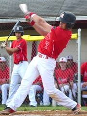 Riverheads' Forrest Shuey connects for a single in