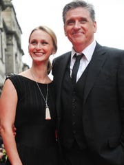 "Craig Ferguson and his wife Megan Wallace Cunningham attend the European Premiere of Disney Pixar's ""Brave"" `closing the 66th Edinburgh International Film Festival at Festival Theatre on June 30, 2012 in Edinburgh, Scotland."