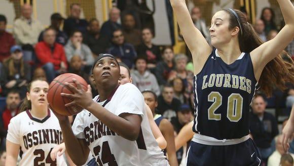 Lourdes senior Maddy Siegrist (20) defends Ossining
