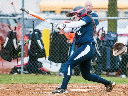 Dallastown pitcher Jaelynn Harbold bats against West York in a softball game on April 8. Dallastown won, 15-0.