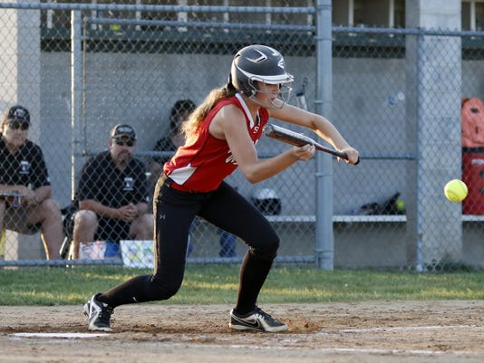 Susquehannock softball player Megan Green lays down a bunt to advance runners at Twin Valley Middle School in Morgantown on May 19. No. 2 Twin Valley beat No. 15 Susquehannock, 2-1, in the two teams' District 3 tournament first-round game.