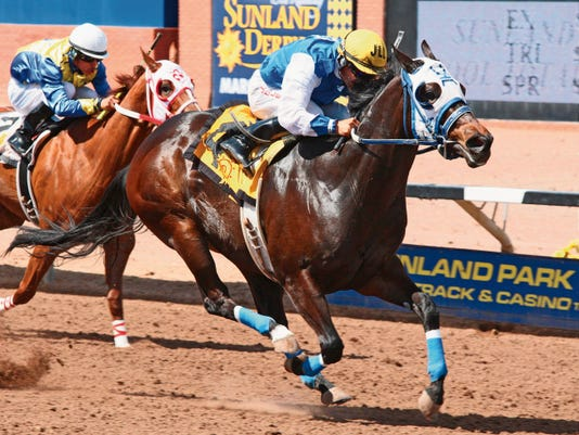 Regal First Moon, shown here with jockey Jesse Levario winning the Sunburst Stakes on March 29 at Sunland Park, is likely to be one of the favorites for Sunday's New Mexico Breeders' Stakes at Sunray Park and Casino.