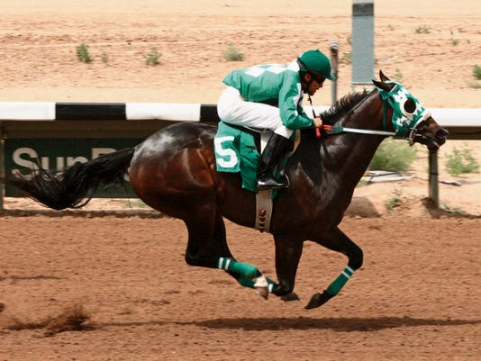 The title for unofficial Horse of the Meet goes to Good Job Honey, shown here breaking her maiden at SunRay Park on opening day, July 3. Good Job Honey would go on to win both her trial heat and the finals in the Four Corners Futurity to complete a three-race win streak over the course.