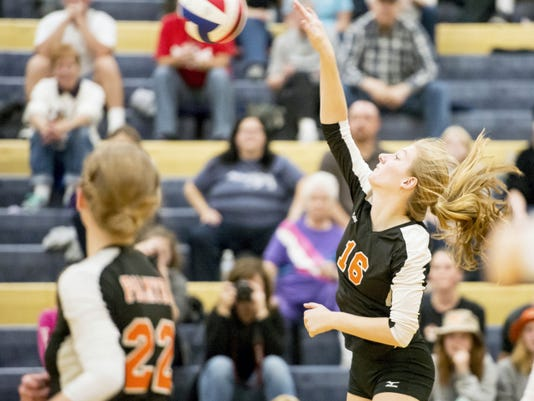 FILE — GAMETIMEPA.COM Palmyra's LeAnn Baker competes in the Cougars' opening district match against Southwestern on Saturday. The Cougars lost to Hempfield, 3-0, on Tuesday at Central York.