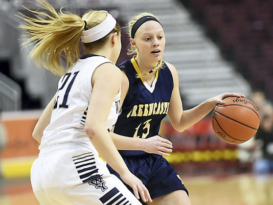 West York's Kari Lankford (21) defends Hannah Crist (13) of Greencastle-Antrim during a District 3-AAA girls basketball semifinal on Wednesday. Crist and the Blue Devils go for the title Saturday morning.