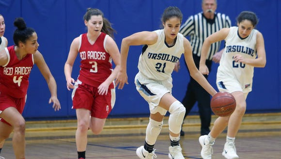 Ursuline's Sonia Citron (21) heads up court after pulling