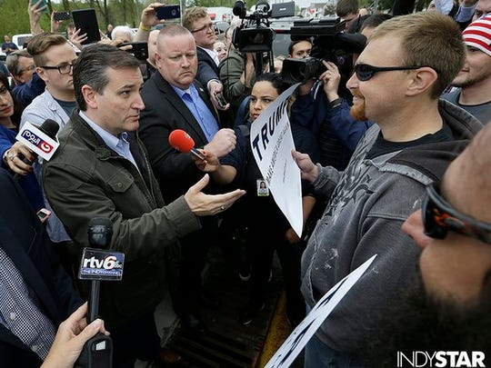 Sen. Ted Cruz tries to convince a Trump supporter that he's backing the wrong candidate.