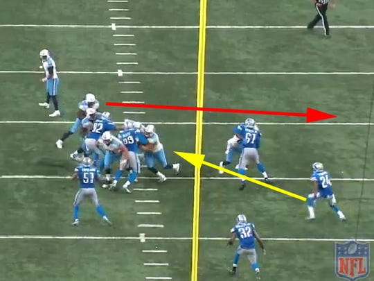 Trying to cut off Titans running back Derrick Henry in the hole, Lions cornerback Nevin Lawson gives up the outside lane.