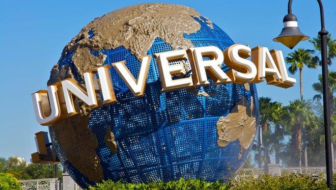 """Orlando, Florida, USA - November 10th 2008: Universal Studios Theme Park with classic Universal Globe Sign"""