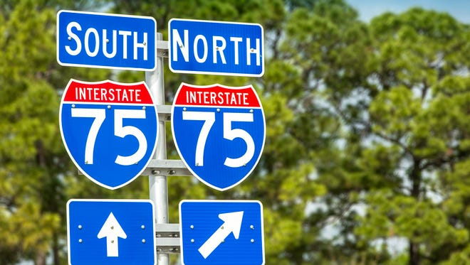 Directional signs along I-75 in Florida.