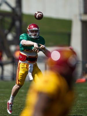 Iowa State's Joel Lanning passes during the ISU football team's spring game on Saturday.
