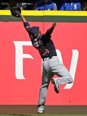 Cleveland Indians left fielder Austin Jackson makes