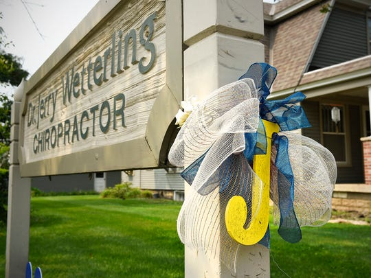 """A large letter """"J"""" hangs of the sign outside Jerry Wetterling's office for his son Jacob on Thursday, Aug. 31, in St. Joseph."""