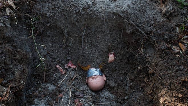 A mannequin depicting a murdered child lays in a shallow grave with pieces of meat. Students in a Florida SouthWestern State College advanced crime scene class will eventually dig up the body.