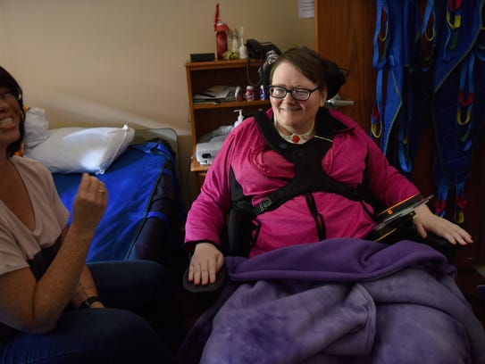 Lisa Mikkelsen (left) and Kathy Steever share a laugh