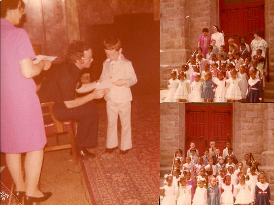 Father Michael Doyle presents a certificate to J. Scott Thomson as Thomson completed kindergarten at Camden's Sacred Heart. The other photos show Thomson and the rest of his Sacred Heart kindergarten class.