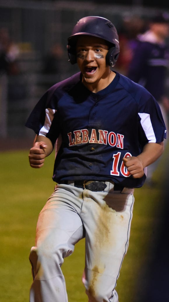 Lebanon's Andy Ortiz reacts after scoring the winning run on a Camyrn Shaak RBI single as Lebanon downed Northern Lebanon 2-1 in 10 innings at Earl Wenger Field in Fredericksburg on Tuesday, May 3, 2016.