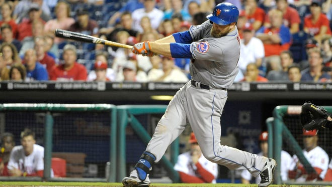 The Mets' Lucas Duda hits an RBI single in the 11th inning against the Philadelphia Phillies at Citizens Bank Park. The Mets defeated the Phillies, 2-1 in 11 innings.