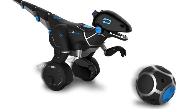 This photo provided by WowWee shows a MiPosaur, a robot toy that can sense its own surroundings and environment, and interact with them in a unique and lifelike way.