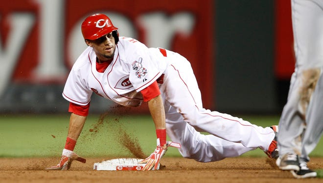 Reds outfielder Billy Hamilton was a perfect 13-for-13 in stolen bases until he was caught for the first time on Wednesday.