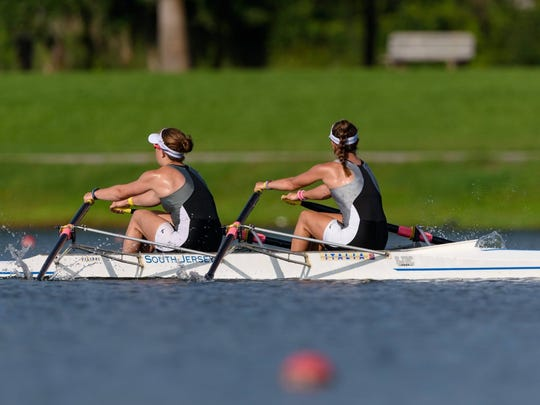 Conrad grad Rose Carr (left) of Newark and South Jersey Rowing Club teammate Rachel Pierce row to their national youth championship.