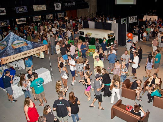 People sample regional  beers at the Redding Beer Week