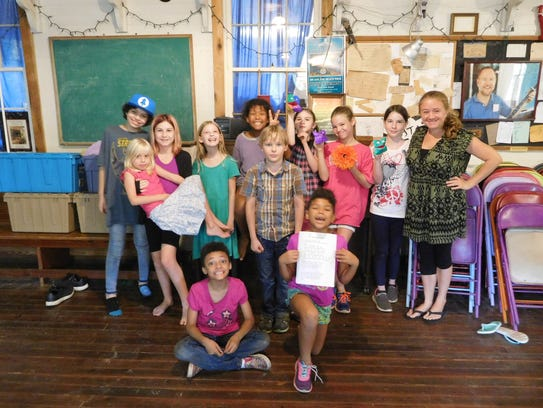 Grassroots theater students with instructor Robin Jackson.