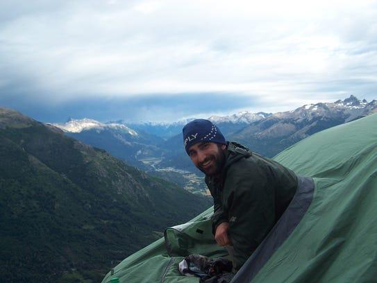 Luke Kelly is shown camping in Patagonia.