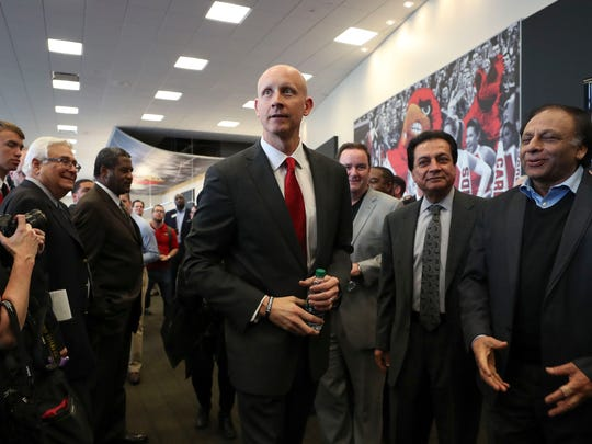 Chris Mack greets onlookers at his introductory press conference in March 2018.