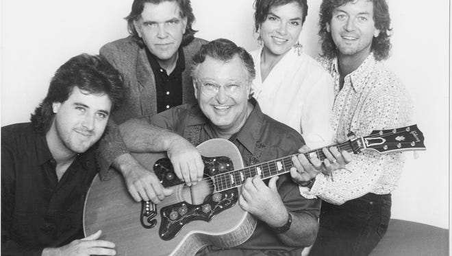 Vince Gill, left, Guy Clark, John D. Loudermilk, Rosanne Cash and Rodney Crowell on July 6, 1987