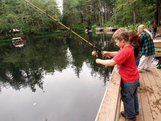 A young angler fishes at Hebo Lake.
