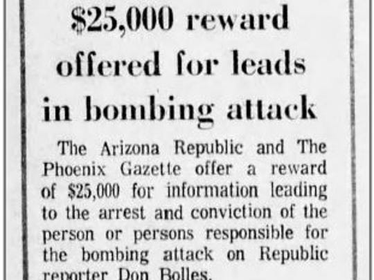 This clipping from the June 3, 1976 edition of The Arizona Republic shows a reward being offered for information leading to an arrest and conviction in the car bombing of reporter Don Bolles.