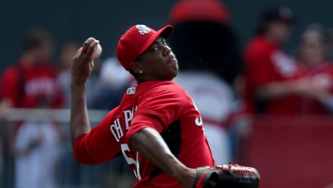 Reds relief pitcher Aroldis Chapman throws a pitch.