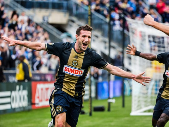 Philadelphia's Chris Pontius (No. 13) celebrates after scoring a goal in the first half of a 1-1 draw between the Philadelphia Union and the San Jose Earthquakes at Talen Energy Stadium in Chester, Pa. on Saturday afternoon.
