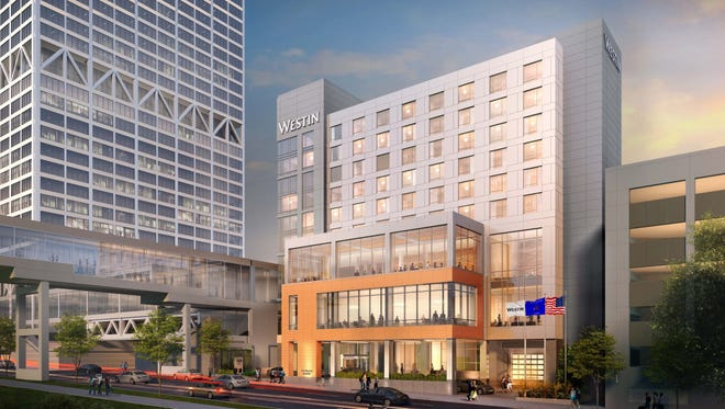 The Westin under construction at 550 N. Van Buren St. will be between the U.S. Bank Center and the center's parking structure.