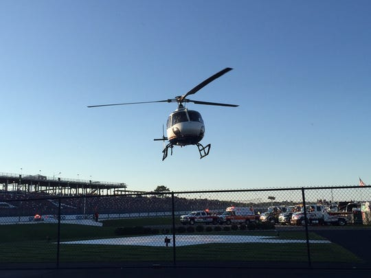 ARCA driver Brad Smith is airlifted from Talladega Superspeedway to UAB Medical Center.